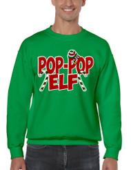 Men's Crewneck Pop Pop Elf Ugly Xmas Holiday Family Cute Gift