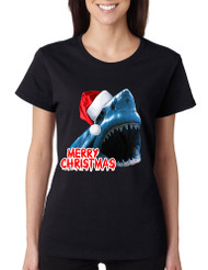 Women's T Shirt Santa Jaws Merry Christmas Ugly Fun Xmas Top