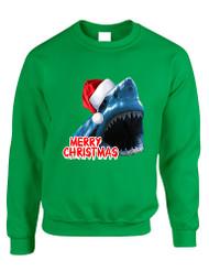 Adult Crewneck Santa Jaws Merry Christmas Ugly Xmas Funny Top
