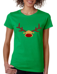 Women's T Shirt Reindeer Face Christmas Shirt Cool Xmas Gift