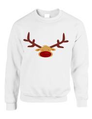 Adult Crewneck Reindeer Face Christmas Gift Cool Xmas Top