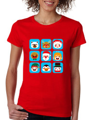 Women's T Shirt Christmas Icons Cool Ugly Xmas Symbols Tee