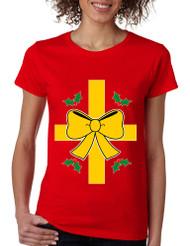 Women's T Shirt Christmas Gift Wrap Xmas Ugly T Shirt Fun Top