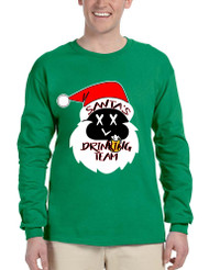 Men's Long Sleeve Santa's Drinking Team Cool Xmas Funny Top