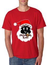 Men's T Shirt Santa's Drinking Team Cool Xmas Funny Top Gift