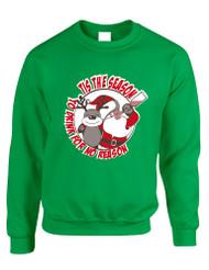 Adult Sweatshirt Tis The Season Drink No Reason Ugly Xmas