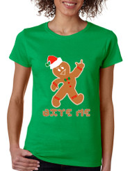 Women's T Shirt Bite Me Gingerbread Ugly Christmas Funny Cool Gift
