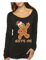 Women's Shirt Bite Me Gingerbread Ugly Christmas Gift Funny Top