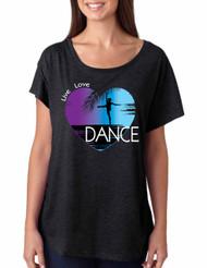 Women's Dolman Dance Art Purple Print Love Cute Top Nice Gift
