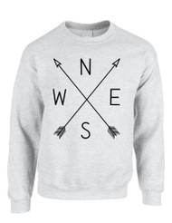 Adult Sweatshirt Compass Arrow Nice Cool NWSE Graphic Top