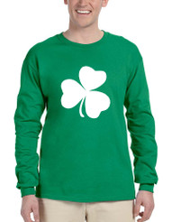Men's Long Sleeve White Shamrock Graphic St Patrick's Day Party
