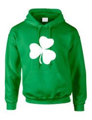 Adult Hoodie White Shamrock Graphic St Patrick's Day Cool Party