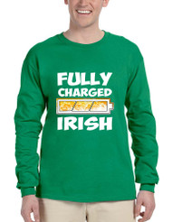 Men's Long Sleeve Fully Charged Irish St Patrick's Day Shirt