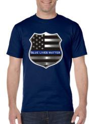 Men's T Shirt Blue Lives Matter American Flag Shirt
