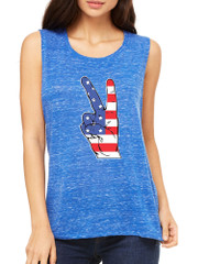 Women's Flowy Muscle Top American Flag Hand 4th Of July