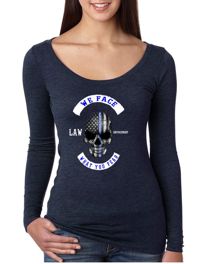 4507c7be Women's Shirt We Face What You Fear USA Blue Flag Skull