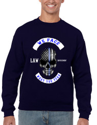 Men's Sweatshirt We Face What You Fear USA Flag Skull