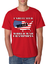 Men's T Shirt Undefeated World War Champions 'merica