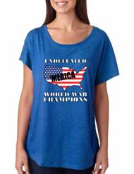 Women's Dolman Shirt Undefeated World War Champions USA