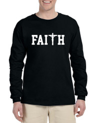 Men's Long Sleeve Faith Print Cross Love Christian Shirt