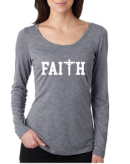 Women's Shirt Faith Print Cross Love Christian Shirt