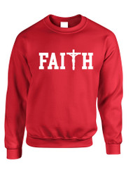 Adult Sweatshirt Faith Print Cross Love Christian Top