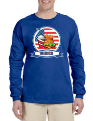Men's Long Sleeve Fast Food 'merica 4th Of July Funny Tee