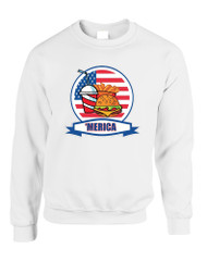 Adult Sweatshirt Fast Food 'merica Love USA 4th Of July Top