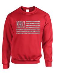 Adult Sweatshirt Merica Glitter Silver Flag 4th Of July USA