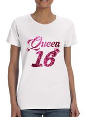 Women's T Shirt Queen 16 Glitter Pink Sweet Sixteen 16th Birthday
