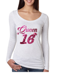 Women's Shirt Queen 16 Glitter Pink Sweet Sixteen 16th Birthday