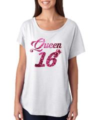 Women's Dolman Queen 16 Glitter Pink Sweet Sixteen Party Shirt