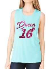 Women's Flowy Muscle Queen 16 Glitter Pink Sweet Sixteen Party