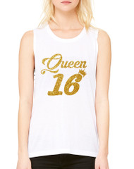 Women's Flowy Muscle Queen 16 Glitter Gold Sweet Sixteen