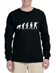 Men's Long Sleeve Hunting Evolution Funny Hunting T Shirt