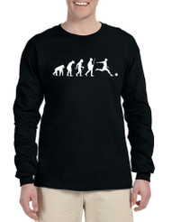 Men's Long Sleeve Soccer Evolution Funny Sport Shirt