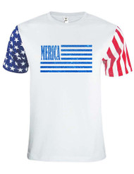 Adult Stars And Strips T Shirt 'merica Glitter Blue Flag 4th Of July