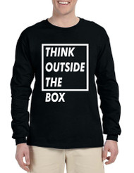 Men's Long Sleeve Think Outside The Box Creative Thinking Shirt