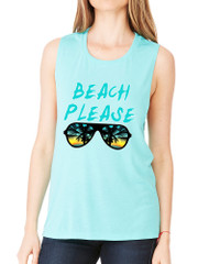 Women's Flowy Muscle Top Beach Please Summer Beachwear