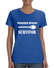 Women's T Shirt Wooden Spoon Survivor Funny Text Humor Tee