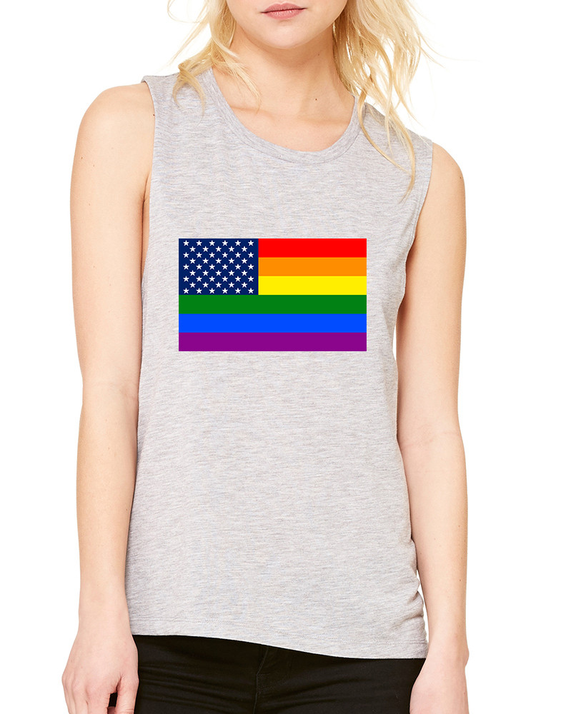 Women s Flowy Muscle Top United States Gay Pride Flag Love Top 4346bbbd95