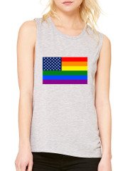 Women's Flowy Muscle Top United States Gay Pride Flag Love Top