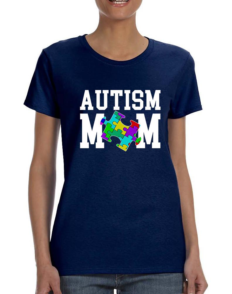 Womens T Shirt Autism Mom Autistic Awareness Tshirt