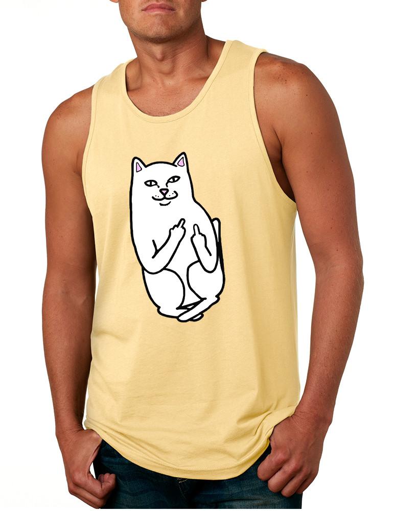 16d69804ed9f9d Men s Tank Top Middle Finger Cat Funny Humor Top