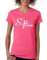 Women's T Shirt Sip Happens Wine Lovers Shirt Popular Tee