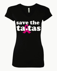 Save The Ta Tas Breast Cancer T-Shirt  Sporty Tee