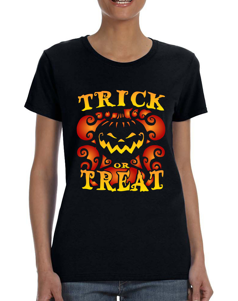 78bbc5ff Women's T Shirt Trick Or Treat Cute Halloween Pumpkin Tshirt. Price:  $20.30. Image 1