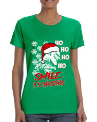Women's T Shirt Christmas Joker Smile Its Christmas Holiday Tshirt