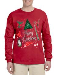 Men's Long Sleeve Harry Christmas Cool Ugly Xmas Holiday Shirt