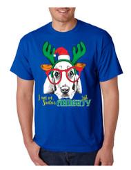 Men's T Shirt I Am On Santa's Naughty List Cute Dog Xmas Gift